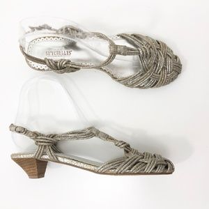 Anthro Seychelles Knotted T Strap Pewter Sandal